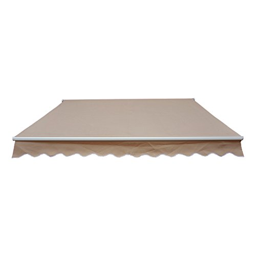Outsunny tenda da sole avvolgibile parasole manuale impermeabile esterno balcone tessuto di poliestere 2.5 × 2m beige