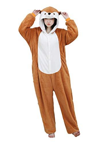 URVIP Neu Unisex Adult Pyjama Cosplay Tier Onesie Body Nachtwäsche Kleid Overall Animal Sleepwear Schlafanzug mit Kapuze Erwachsene Cosplay Kostüm Braun-Mungo L (Für Erwachsene Weibliche Robin Kostüm)
