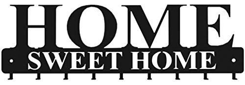 """tradeNX \""""Home Sweet Home Wand Schlüsselboard mit 9 Haken aus Stahl in Schwarz - Wandhalterung für Jacken, Schlüssel oder Handtücher - Montagematerial inklusive"""