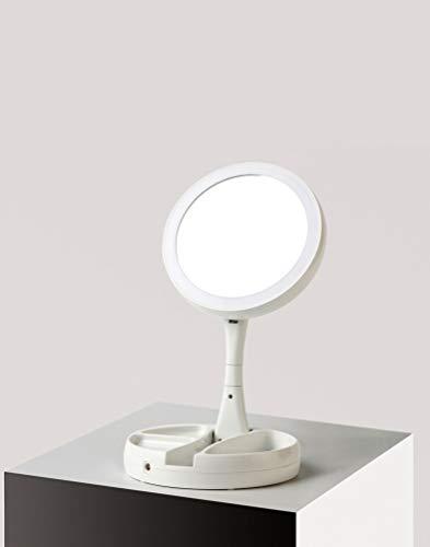 Zodight Kosmetikspiegel Beleuchtet mit 21 LED Licht, klappbar Tischspiegel Doppelseitige Schminkspiegel mit 10X Vergrößerung Make-Up-Spiegel für Schminken, Rasieren - Doppelseitige, Beleuchtete Make-up-spiegel