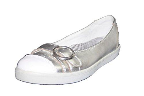 Ricosta 37212 /48820 Mädchen Ballerinas , Mittel silber -weiß