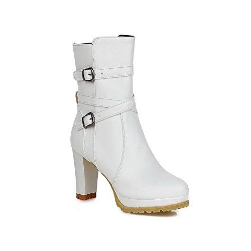 VogueZone009 Damen PU Leder Mitte-Spitze Gemischte Farbe Reißverschluss Hoher Absatz Stiefel, Weiß, 42