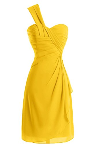 Sunvary a-line One-Shoulder Ruched garza vestiti Homecoming cocktail Giallo