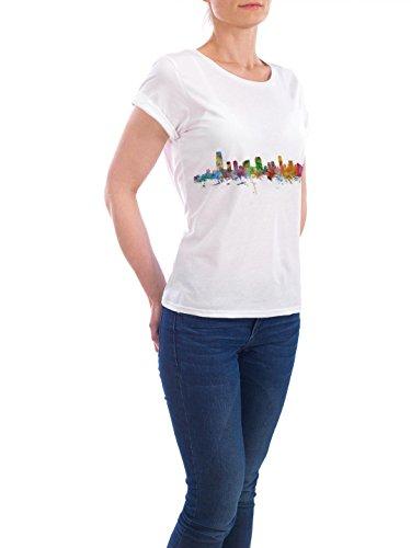 """Design T-Shirt Frauen Earth Positive """"Jersey City New Jersey Watercolor"""" - stylisches Shirt Städte Kartografie Reise Architektur von Michael Tompsett Weiß"""