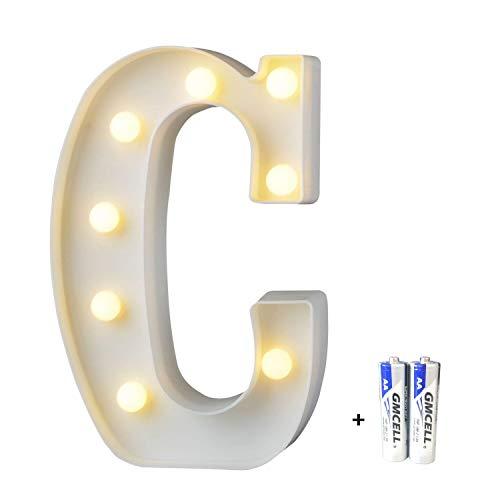 LED Buchstabe Lichter Alphabet, LED Brief Licht, Led dekoration für Geburtstag Party Hochzeit & Urlaub Haus Bar - Buchstabe C