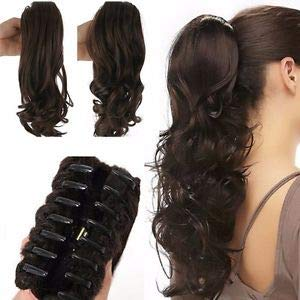 Synthetic Straight-Curls Ponytail with Clip Hair Extension Wig (Black) (approx.) 15 Inch for Women
