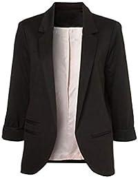 Chaqueta de Traje de Negocios para Mujer Blazers Manga 3/4 Slim Fit Elegante Blázer