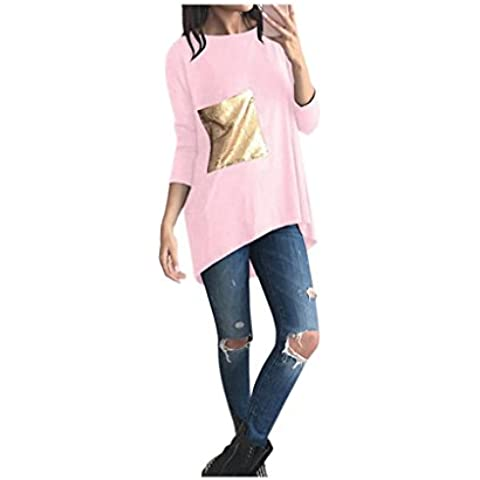 Koly_Loose Women Paillettes Splicing camicetta signore casuali parti superiori T-shirt
