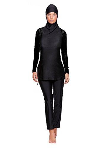Versandhandel Henry Musch-Malinowski 2 TLG. Muslimischer Vollkörper Badeanzug Burkini/Islamische Badebekleidung Tesettür mit Hijab f5444 Farbe: Schwarz BU3(sw), Gr. 38 (M)