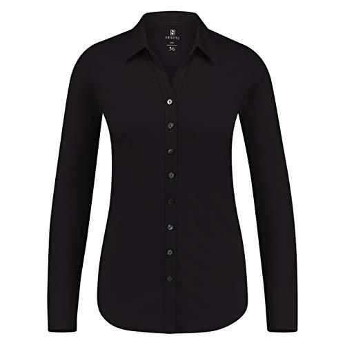 DESOTO bügelfreie Premium - Jersey Bluse aus mercerisierter Baumwolle Uni (38, Black Uni)