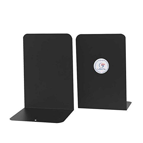 Buchstütze 2 Stück Metall rutschfest Bücher Halter Ständer im bücherregal auf den Schreibtisch für Bibliothek Schule Office Home black Grau -