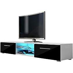 Selsey - Meuble TV (Blanc mat/ Blanc Brillant mat avec l'éclairage LED Bleu) 140cm