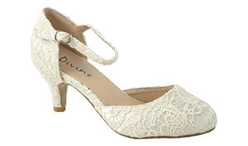Mary Jane Damen Pumps aus Satin, mittelhoher Absatz, Ivory Lace - Größe: 38 EU (Ivory Mary Jane Schuhe Für Frauen)