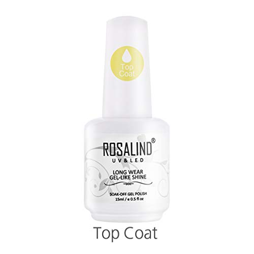 Rosalind Unterlack semi-permanenter Emaille-Gel-Nagellack, Soak-Off-Art, ohne Abwischen, Decklack, UV-/LED-Nagellack, 15 ml