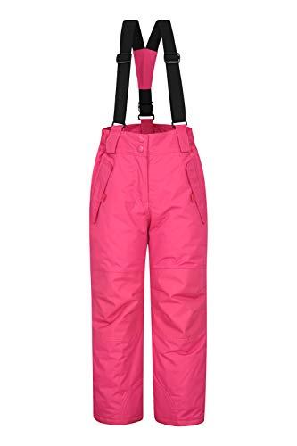 Mountain Warehouse Honey Schneehose für Kinder - Schneedicht, Schneegamaschen, Schneeanzug mit Reißverschluss am Knöchel, abnehmbare Träger, 2 Taschen - Für Skiurlaub Dark Pink 128 (7-8 Jahre)
