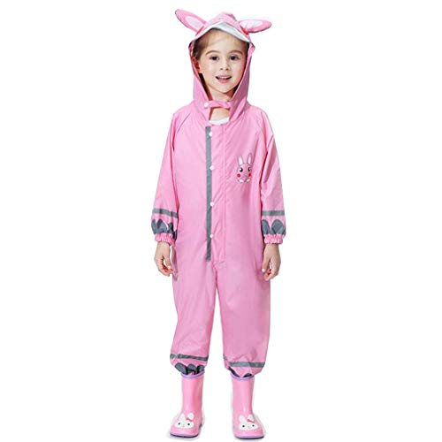 Wetry Waterproof Suit Child,Girls Boys Childrens Waterproof All in One Suit Animal Rainsuit Lovely Breathable,Four-Color
