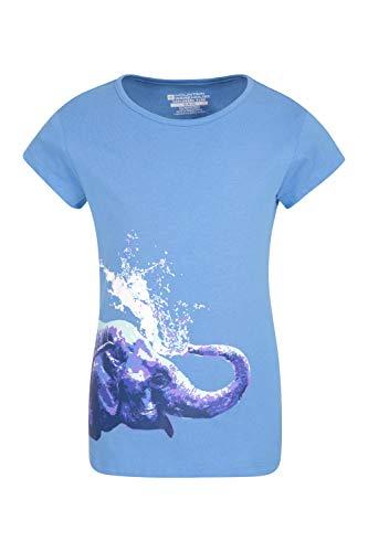 Mountain Warehouse Kinder-T-Shirt mit Elefanten-Aufdruck - 100% Baumwolle, UV-Schutz, Für Mädchen und Jungen, leicht, atmungsaktiv, Bedruckt - Für Picknicks, Frühling Blau 128 (7-8 Jahre) - Kind Shirt Elefant