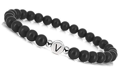 Mister Boncuk ® Partnerarmbänder mit Onyx Perlen - Silber-Look Buchstabe - Perlenarmband aus Naturstein - Schmuck für Paare/Freundschaftsarmband (Buchstabe V)