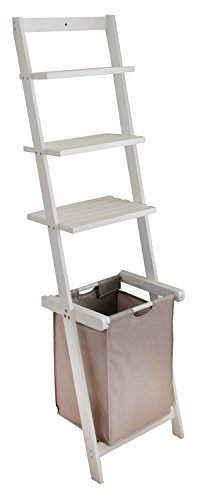 BonVivo® Leiterregal Vivienne, vielseitiges Badezimmer-Regal mit abnehmbaren Wäschekorb und 3-Fächern zur Ablage, in Weiß
