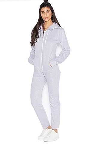 Divadames Womens Back To Basic Onesie Ladies Zip Up Hoodie Onesie Size UK-L.Grey-12/14
