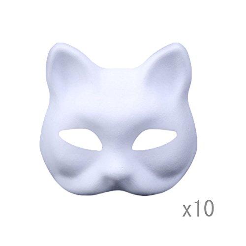 Maske Zellstoff Blank Handgemalte Maske Persönlichkeit Kreative Freie Design Maske 10 stücke(Katze) ()