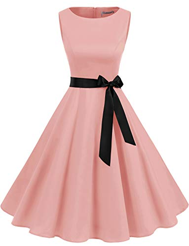 Gardenwed Damen 1950er Vintage Cocktailkleid Rockabilly Retro Schwingen Kleid Faltenrock Blush 3XL