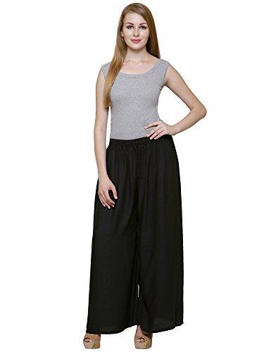 DAMEN MODE Women Rayon Solid Palazzo_Free Size (Black)
