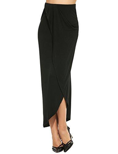 Zearo Damen hohe Taille Maxi Rock lang Bleistiftrock asymmetrisch elegant Größen S-XXL