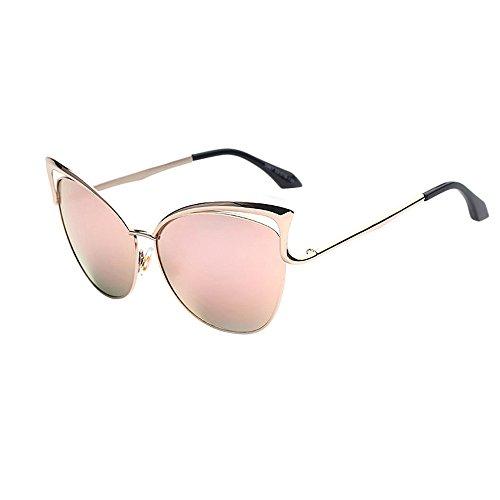 Frauen Männer Cat's Ear Sonnenbrille,EUzeo Tonspiegel Sonnenbrille,Retro Rahmen Sunglasses Brillen (Rosa)