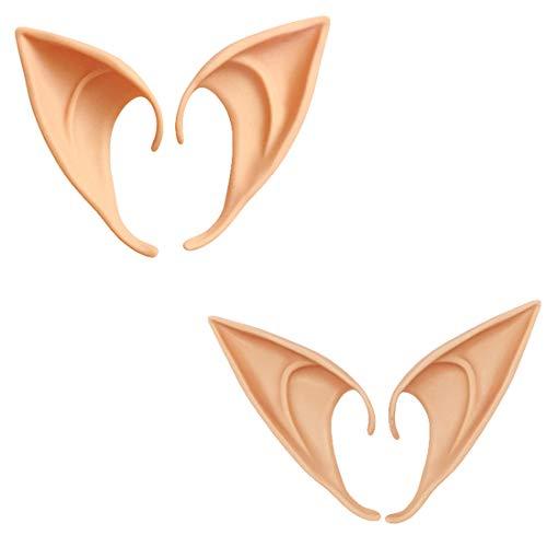 BOEHNER 2 Paar Rollenspiel-Masken weiche Fee Elfen Ohrringe Halloween Party Spitze Prothese Ohren Halloween Party Elfenohren (Natürliche Farbe)