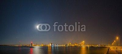 Alu-Dibond-Bild 160 x 70 cm: 'Stralsund Hafen Altstadt Nacht', Bild auf Alu-Dibond