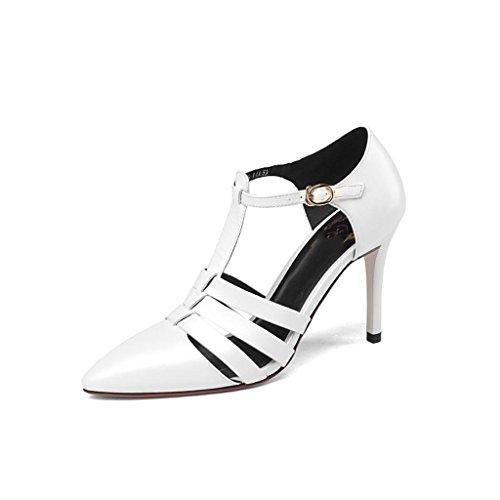 W&LMfine con Con tacco scarpe donna occupazione lavoro scarpa appuntito bocca superficiale scarpe basse White