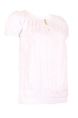 Moda Italy Damen Bluse Shirt Tunika Freizeit Look Elastisch Carmen Ausschnitt Kurzarm Floral Stickerei Pailletten Weiß