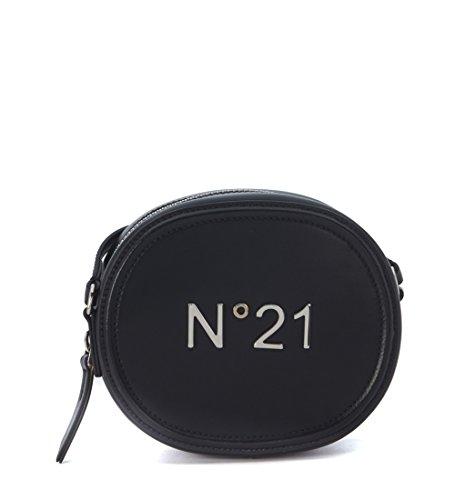 Borsa tracolla tamburello small N°21 in pelle spazzolata nera