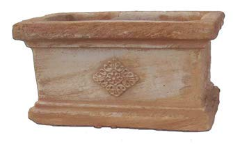 Blumentopf Pflanzgefäß Italienisches Terrakotta Siena -Absolut Frostfest- -Qualitätsware- Ideal für Sukkulenten und als Kräutertopf -kleine Blumentöpfe- -Mit Motiv- (Cassetta Con Rosa)