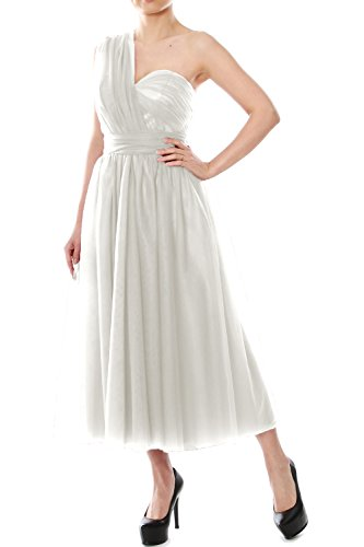 MACloth Tea Length Convertible Bridesmaid Dress Tulle Wedding Party Formal Gown Ivoire
