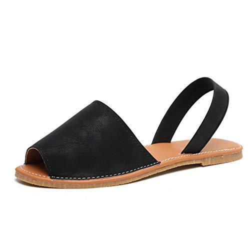Sandalen Damen Sommer Sandaletten Flachen Frauen Knöchelriemchen Espadrille Plateau Flip Flop Sommersandalen Bequeme Elegante Schuhe Schwarz Weiß Rosa Gr.34-44 BK37