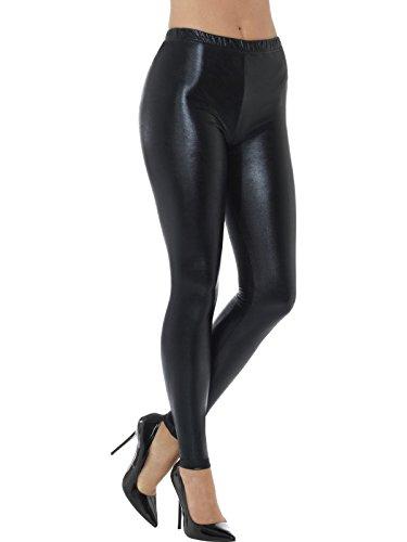 Smiffys, Damen 80er Jahre Metallic Disko Leggings, Größe: 36-38, Schwarz, (Fancy Disco Dress 80's Kostüm)