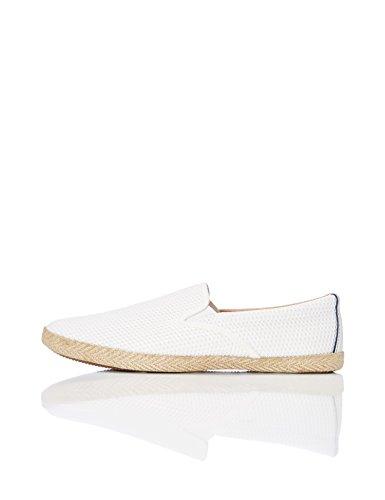 FIND Herren Slipper mit Velours-Kunstleder, Weiß (White), 46 EU (Schuhe Leder Weiss Herren)