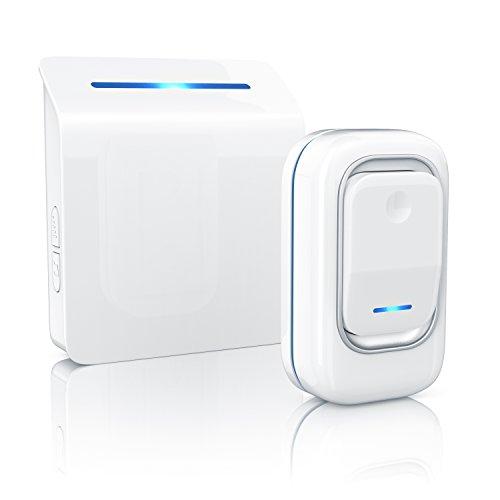 Arendo - sonnette digitale (sans fil / portable) | Wireless Digital Door Bell | 36 mélodies sons sélectionnables | quatre niveaux sonores | signal optiqie (LED) | haute portée (jusqu'à 100m) | IP44 (étanche à l'eau et résistante aux intempéries) | blanc