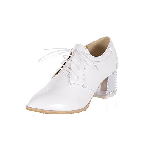 AllhqFashion Femme Pu Cuir Couleur Unie Pointu à Talon Correct Chaussures Légeres Blanc
