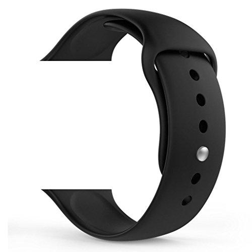ZRO Smart Watch Armband, Soft Silikon Sport Ersatz Uhrenarmbänder für Apple iWatch Serie 2/ Serie 1 42mm S/M, Schwarz