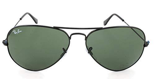 Ray Ban Unisex Sonnenbrille Aviator, Gr. Large (Herstellergröße: 58), Schwarz (Gestell: schwarz L2823, Gläser: grau grün)