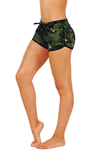Fit Division Damen Lounge-Shorts Boody Shorts Yoga Laufen Active Gym Workout Shorts - Grün - X-Klein - Lounge Shorts