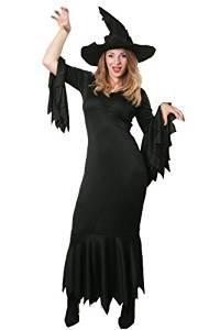ILOVEFANCYDRESS HEXEN -Gothic Kleid - KOSTÜME VERKLEIDUNG +DRAHT VERSTÄRKTEM Zauberer Hut =Halloween Fasching Karneval MAGISCHE VERKLEIDUNG ()