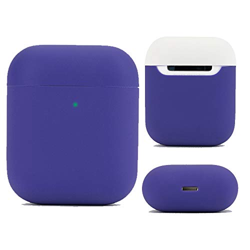 DamonLight Airpods Custodia Protettiva Cover in Silicone e Pelle per Airpods Ricarica di{Full Protection} Viola