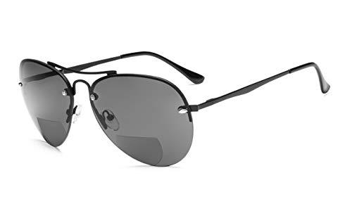 Eyekepper Hälfte-Rand Pilot Stil Bifokal Sonnenbrillen lesen Schwarz,+2.50