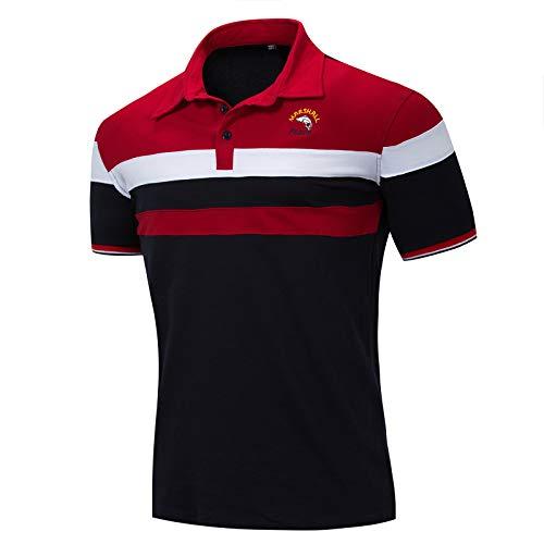 LEOCLOTHO Herren Poloshirt Kurzarm Golf Polohemd Patchwork Sommer T-Shirt mit Gestreift Polo Shirt Rot L -