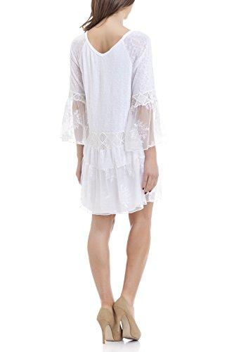 Laura Moretti - Robe avec broderie de dentelle et paillettes Blanc