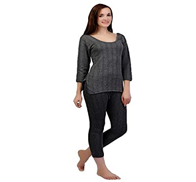 ZIMFIT Cotton Women's or Girls Winter wear Full Sleeves Thermal,Warmer Top,Bottom Set in Dark Grey Colour (Pack of 2)